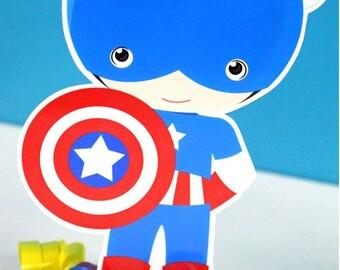 Classic Superhero Captain USA Boy Centerpiece