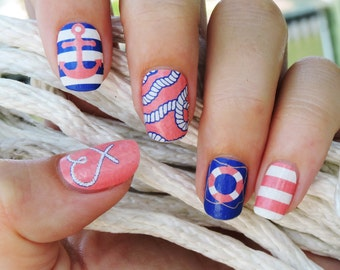 Nail Wraps. Nautical Nail Art Nail Polish Strips.