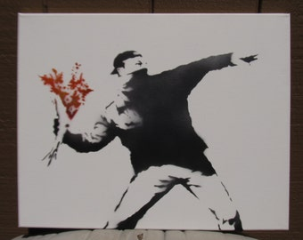Hand Spray Painted - Banksy Throwing flowers Riot spray paint stencil art on canvas