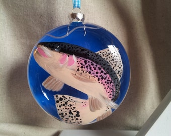 Rainbow Trout christmas ornament hand painted on glass