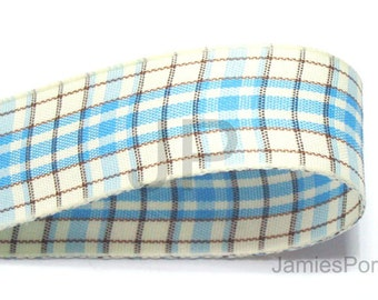 5meter  15mm Plaid Ribbon in Blue on Cream