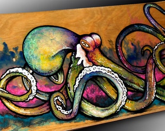 Octopus Wall Art | Skateboard Deck Art | Octopus Painting | Octopus Art Decor | Nautical Wall Decor | Skateboarding | Custom Skateboard