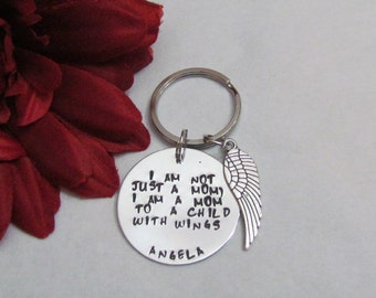 A Mom to a CHILD with WINGS  - Key chain -Personalized Name- healing gifts -  Angel wing keychain - loss of child - gift box for gift giving