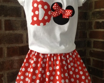 Minnie Mouse Twirl Skirt Outfit - Birthday Outfit - Disney Vacation Outfit - Girl, Toddler Girl