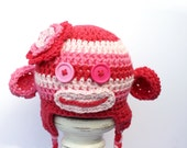 Cheeky Sock Monkey Crochet Beanie,  Great Photoprop, MADE to ORDER, Newborn to 5T-Preteen Sizes Made