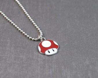 SALE Mushroom Necklace, Gamer Jewelry, Geek Pendant, Video Game Jewelry, Mushroom Pendant, Kids Jewelry, Geek Necklace, Nerd Jewelry