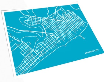 Atlantic City NJ Line Art Map / New Jersey Map Print Abstract Wall Art / 8x10 / Choose your color