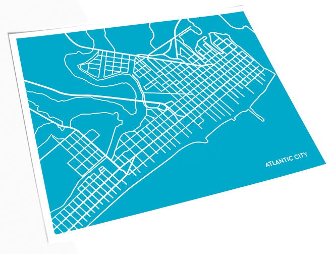 Line Art Nj : Atlantic city nj line art map new jersey print abstract