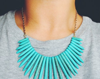 Turquoise Bib Spike Necklace and Chain