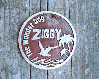 Pet Tag, Pet ID, Tropical Island Pet Tag, Etched Brass Pet Tag / Beach Themed Pet Tag