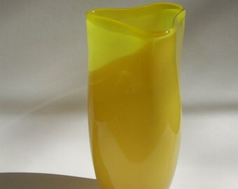 Bright Yellow Two Tone Triangular Vase Jug Vessel