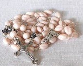 Pink Rosary Vintage German Glass Beads Pale Pink Vintage Beads Italian Crucifix and Center Medal Silver Plated Rose Glory Beads (VPR-81014)