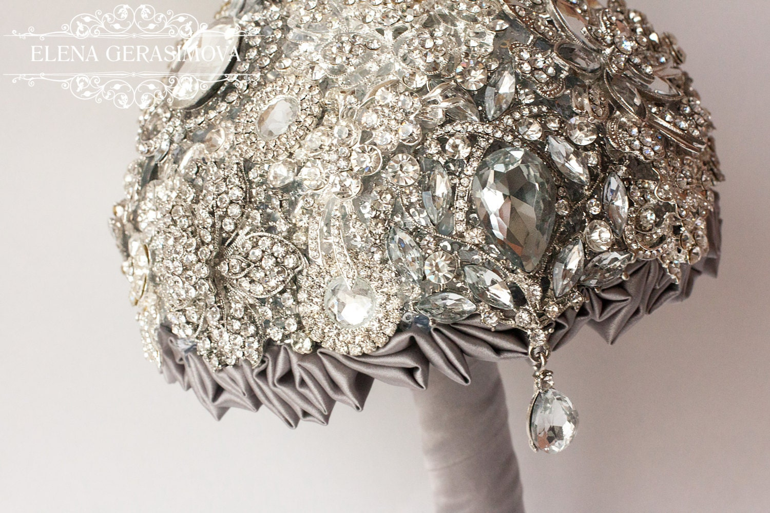 Wedding Brooch Bouquet Nz : Brooch bouquet silver crystal unique wedding by
