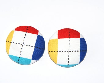 Fabric Covered Button Earrings- Color Block