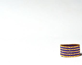 Navy Blue and Gold Ring, Seed Bead Ring, Striped Beaded Ring, Beadwoven Jewelry, UK Seller, Royal Blue Ring