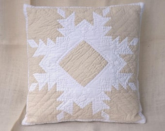Hand-quilted Pillow Case Feathered Star Modern white farmhouse rustic Scandinavian hand quilted  home accent clean white cozy cottage decor