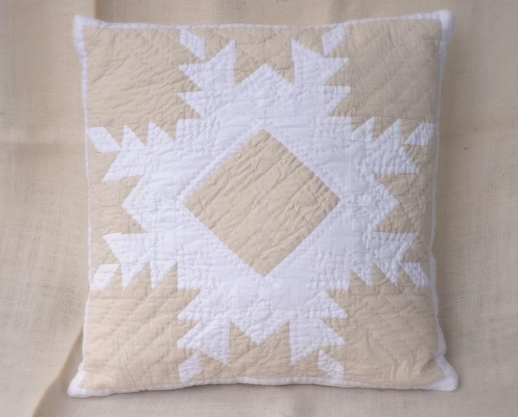 Hand-quilted Pillow Case Feathered Star Modern white farmhouse