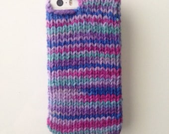 Jewel - purple, magenta and blue jewel toned knit phone sweater case for iPhone