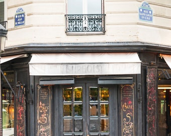 Paris Cafe Photograph, Morning at Cafe St. Regis, Large Wall Art, French Kitchen Decor, Travel Photograph