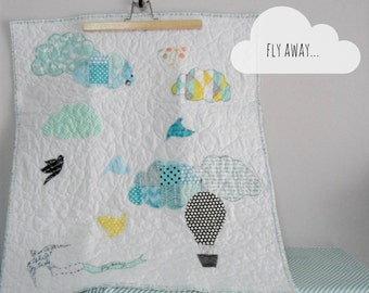 Baby quilt/stroller quilt, baby blanket/Fly Away, Clouds & Hot air balloons, Modern Nursery, Nursery decor, Shower gift idea, Made to order