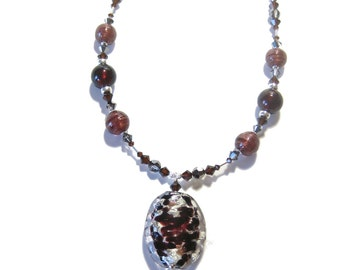 Murano Glass Brown Silver Pendant Necklace, Venetian Necklace, Italian Glass Jewelry, Beaded Lampwork Jewelry
