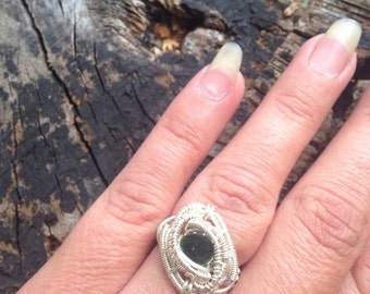 Green Tourmaline Ring -  Wire Wrapped Ring - Size 5 Tourmaline Ring - Tourmaline Ring- Wire Wrap - Sweet Water Silver