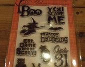 Spooky Halloween Hero Arts Clear Stamp Collection - Scrap-booking - Unmounted Stamps - Cling Stamps - Holiday Stamp set YOU SCARE ME