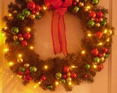 "NEW! 24"" Santas Favorite Christmas Wreath , Amber LED Battery Operated Lights, Holiday Wreath , Door Wreath , Traditional Wreath"