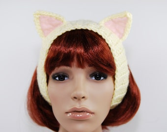 Crochet Yellow Cat Headband-Women Accessories-Ear Warmers-Kawaii-Sweet Lolita-Yellow-Yellow Headband