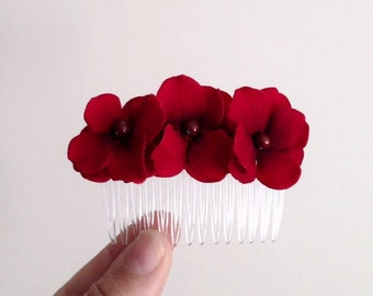 Red Flower Hair Comb, Wedding Hair Accessories, Red Hydrangea Hairpiece, Flower Comb, Bridesmaid, Deep Red, Velvet Flowers, Pearls