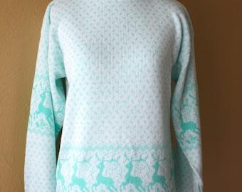 Vintage Little Girls Dancing Deer Novelty Sweater