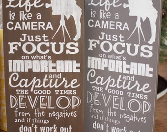 Life Is Like A Camera Wall Art Distressed Subway Typography Wood Sign