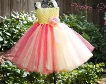 Lemonberry Tutu Dress- Yellow and Coral