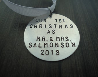Bride and Groom Christmas tree Ornament - First Christmas - Personalized Ornament - Name Gift