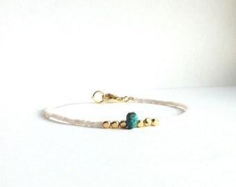 Gold and Turquoise Thin Beaded Bracelet, Dainty Gold Bracelet, Seed Bead Bracelet, Thin Gold Bracelet, Beaded Friendship Bracelet