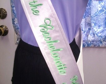 Monogrammed Satin Sash for Bride Bachelorette Party Fun