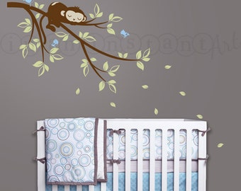 Monkey Wall Decal, Monkey Sleeping on Branch Vinyl Wall Decal with Birds for Nursery, Kids, Childrens Room 053