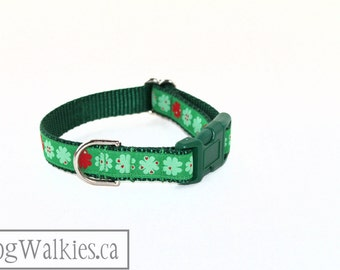 "Lucky Clover Dog Collar - 3/4"" Wide (19mm) - Green Clover -  Martingale or Side Release *Limited amount of this ribbon*"