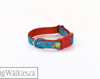 "Monsters and Aliens Everywhere Dog Collar - 3/4"" (19mm) Wide - Choice of collar style and size - Martingale or Side Release // Orange// Aqua"