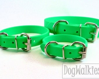 "Neon Apple Green Biothane Dog Collar - 5/8"" (16mm) wide - Leather Look and Feel - Small Dog Collar - Stainless Steel or Solid Brass Hardware"
