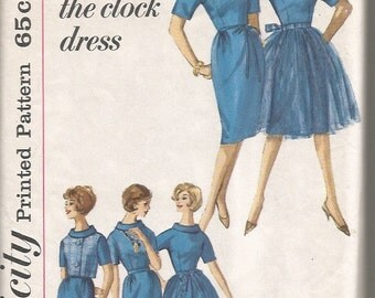 Vintage 1960's 'Round the Clock Dress Sewing Pattern Simplicity 4125 36 Bust