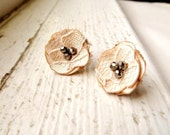 Champagne Lace Flower Stud Earrings, Pale Beige Nude Fabric Earrings, Romantic Vintage Style, Fashion Jewelry, Small Flower Posts - InspiredGreetingsAD