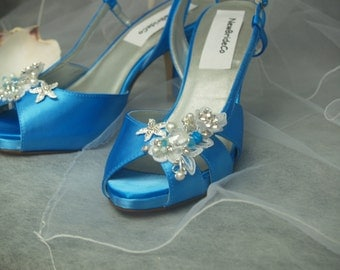 size 8 mermaid blue bridal shoes ready to ship satin sandals starfishbeach