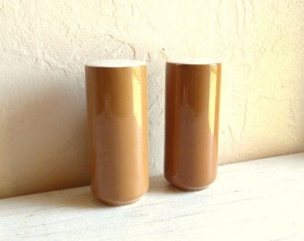 Ceramin Salt and Pepper Set Mustard Yellow Pottery Mid-Century