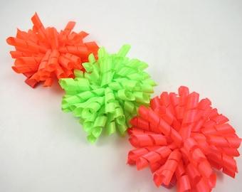 Neon Pink Orange Green Korker Bows - Neon Korker Hair Bows - Korker Hair Clip Set - Neon Pink - Neon Green - Neon Orange -  Neon Hair Bows