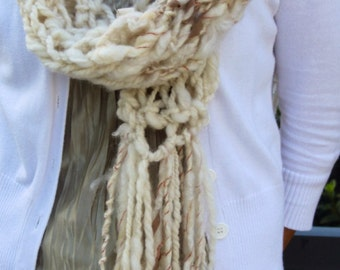 Hand Knit Scarf in Natural Ivory Hand Spun Yarn with Ribbons, etc.  Bulky Super Soft Wool in Ivory Yarn with Locks/Curls