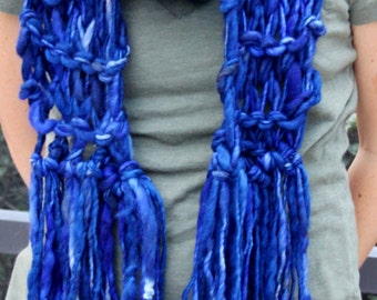 Hand Knit Super Bulky Scarf in Tardis Blue Handspun Hand Dyed,  Super Bulky and Soft