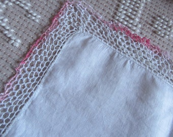 White Linen Hankie Handkerchief with White and Pink Crocheted Edge Trim Vintage 1940s