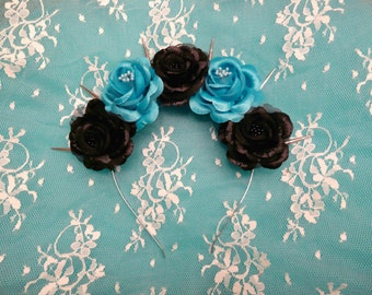 Corpse Bride-Pastel Goth Flower Crown blue and black roses silver spikes