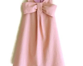 Toddler Summer Dress, Girls Spring Summer Dress,  Linen Blend Toddler A-Line Tent Shift, Flower Girl, Special Occasion Dress